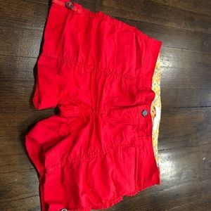 Red scrunched shorts
